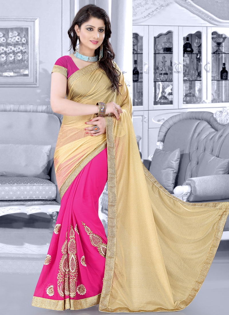 Deserving Stone Work Half N Half Designer Saree