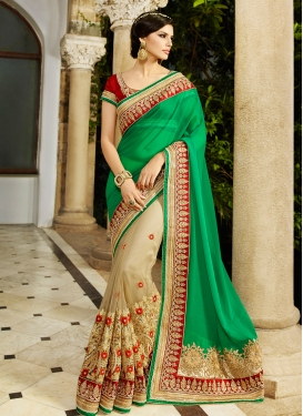 Desirable Beads And Lace Work Half N Half Bridal Saree