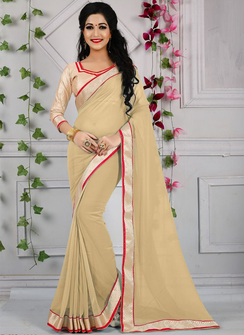 Desirable Beige Color Resham Work Casual Saree