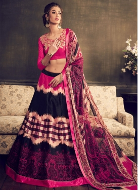 Desirable Black And Rose Pink Color Designer Lehenga Choli