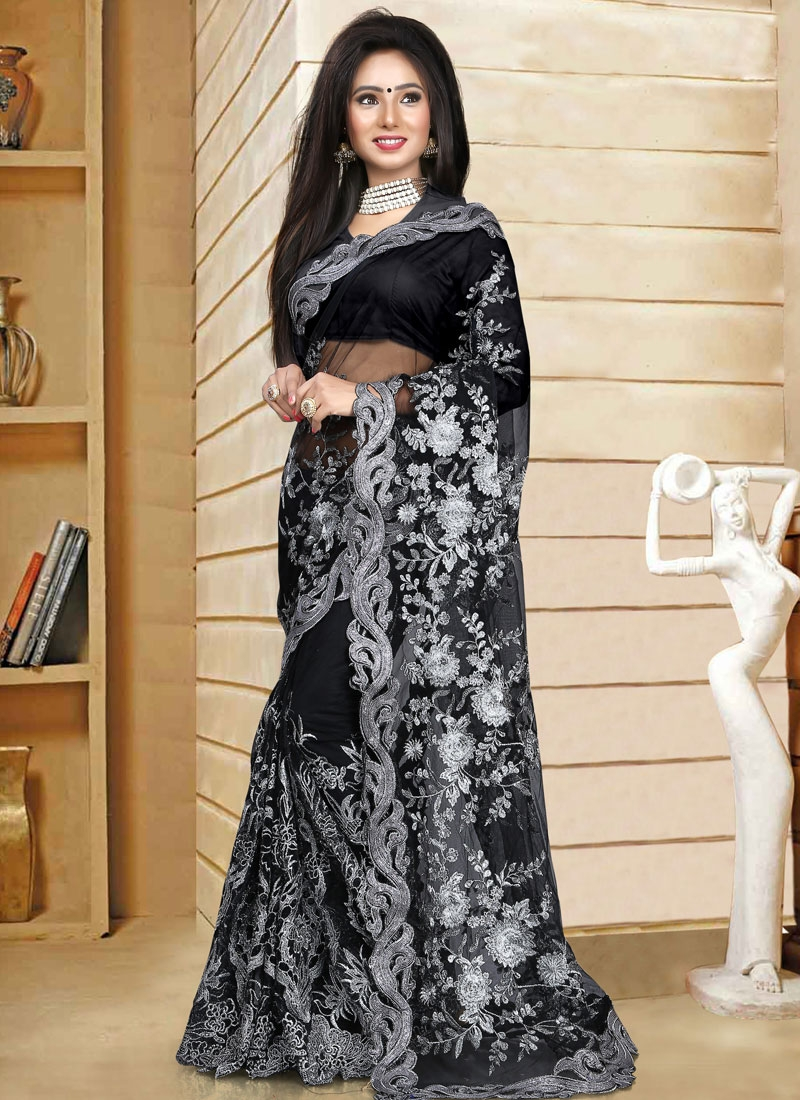 Desirable Black Color Embroidery Work Net Wedding Saree
