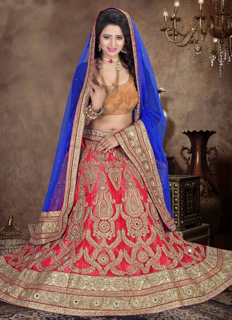 Desirable Booti And Mirror Work Bridal Lehenga Choli