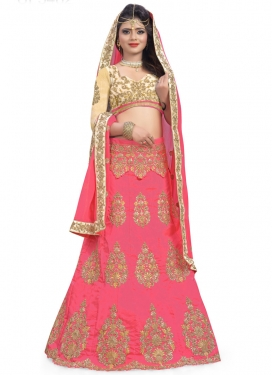 Desirable Booti Work Silk Trendy A Line Lehenga Choli