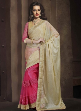 Desirable Embroidery And Lace Work Half N Half Designer Saree