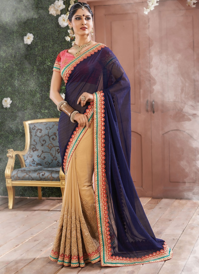 Desirable Embroidery Work Faux Chiffon Half N Half Designer Saree