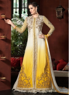 Desirable Embroidery Work Yellow Color Designer Lehenga Choli