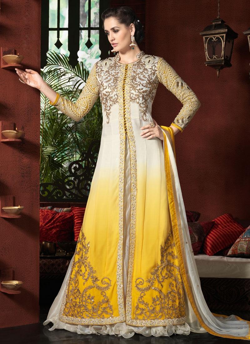 Desirable Embroidery Work Yellow Color Designer Lehenga Choli