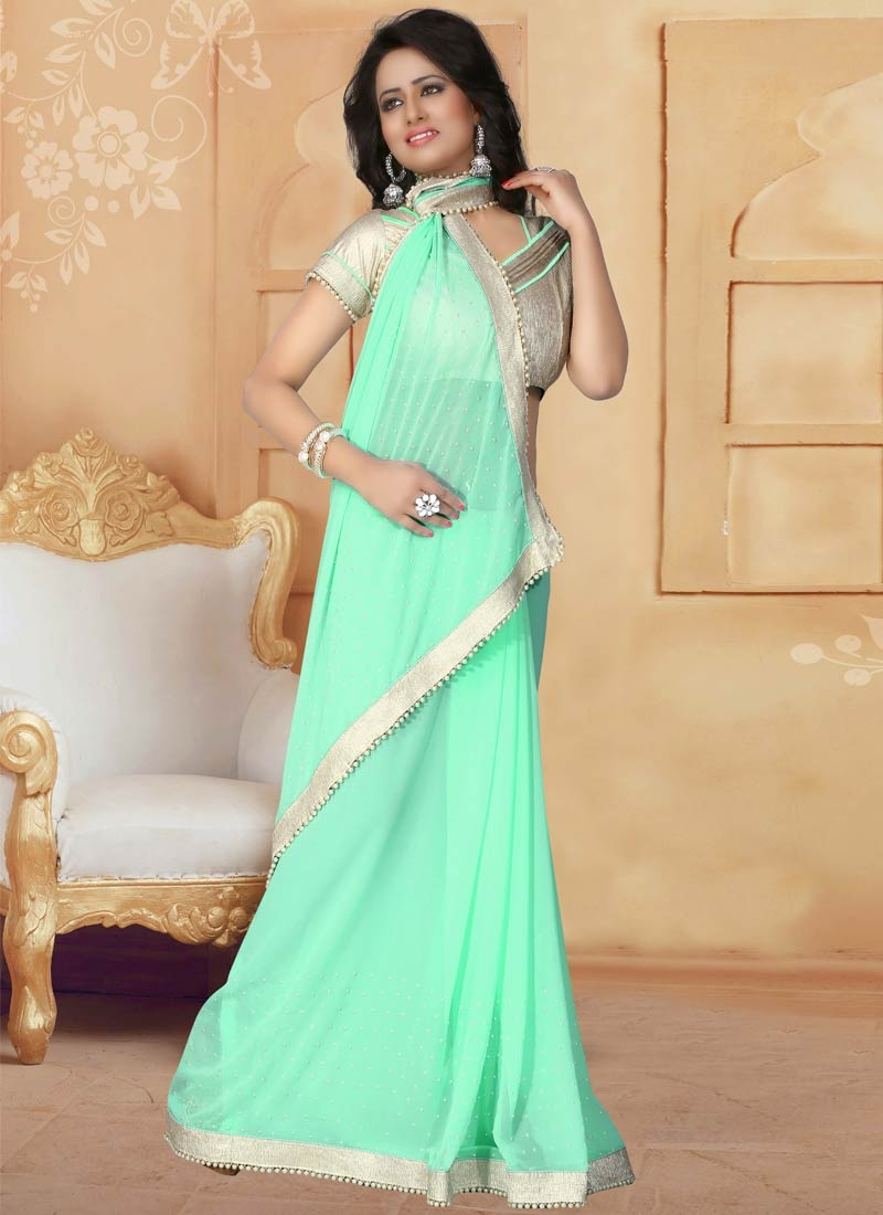 Desirable Faux Georgette Beads Work Party Wear Saree