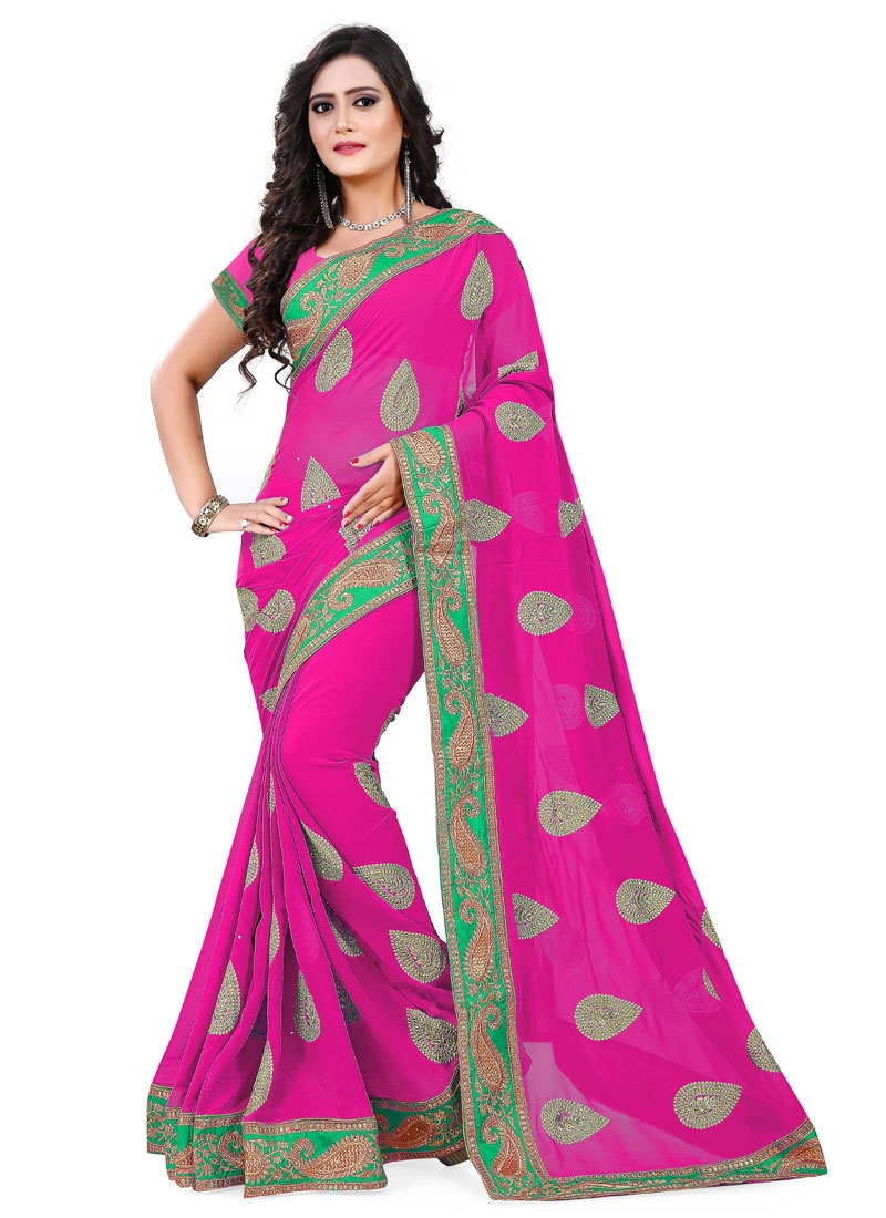 Desirable Faux Georgette Booti Work Party Wear Saree