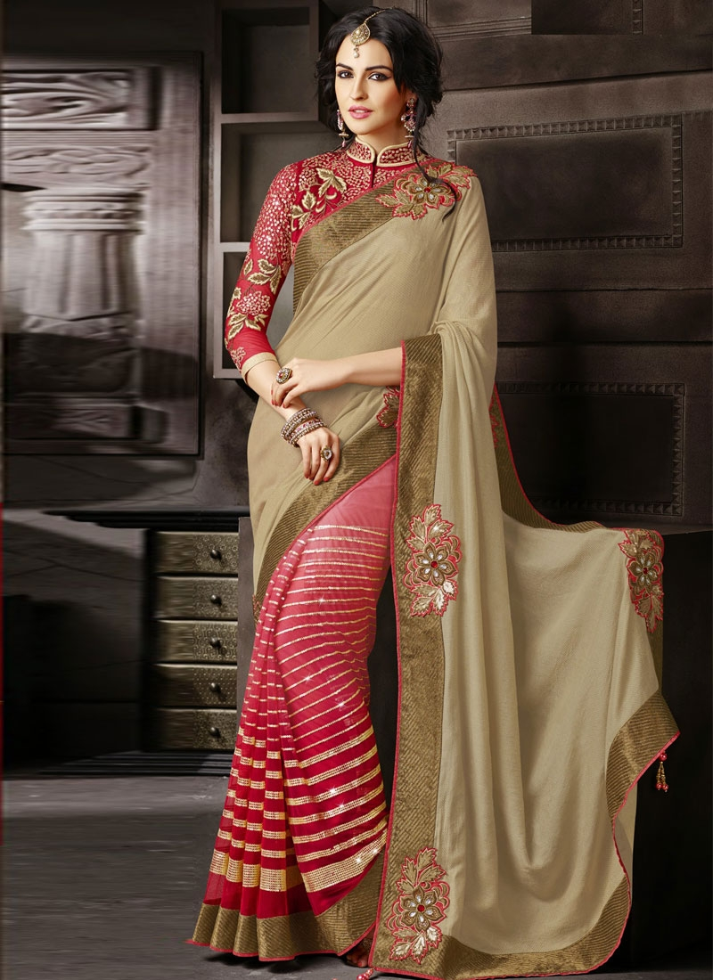 Desirable Floral And Lace Work Half N Half Wedding Saree