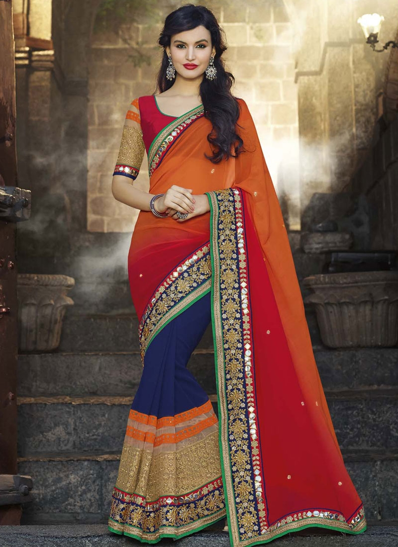 Desirable Jaal And Resham Work Wedding Saree