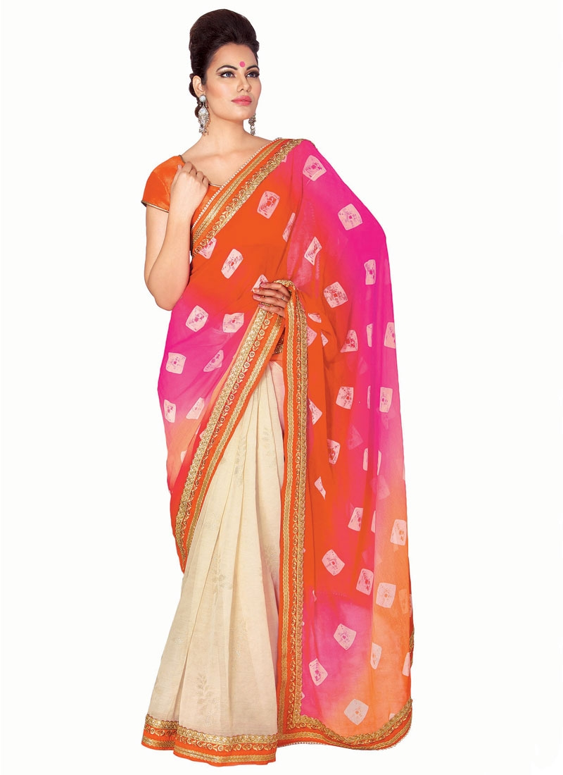 Desirable Lace And Resham Work Half N Half Party Wear Saree