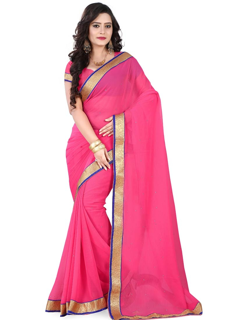 Desirable Lace Work Rose Pink Color Casual Saree