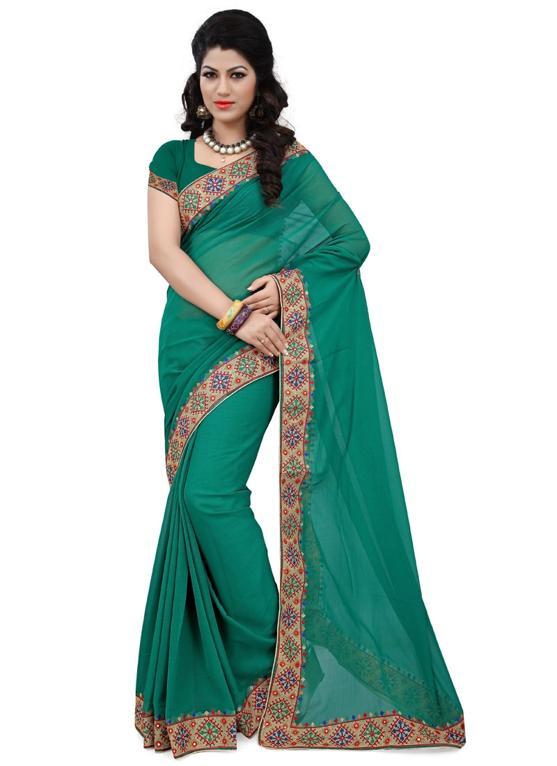 Desirable Mirror  Work Casual Saree
