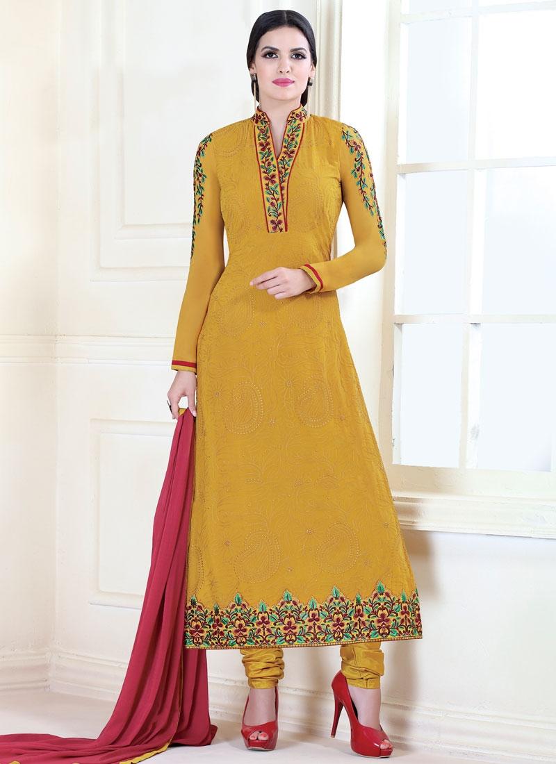 Desirable Mustard Color Pakistani Salwar Suit