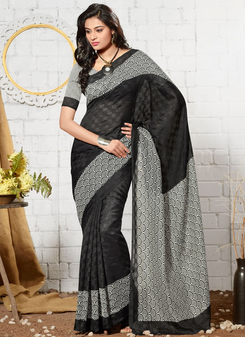 Desirable Off White And Black Color Casual Saree