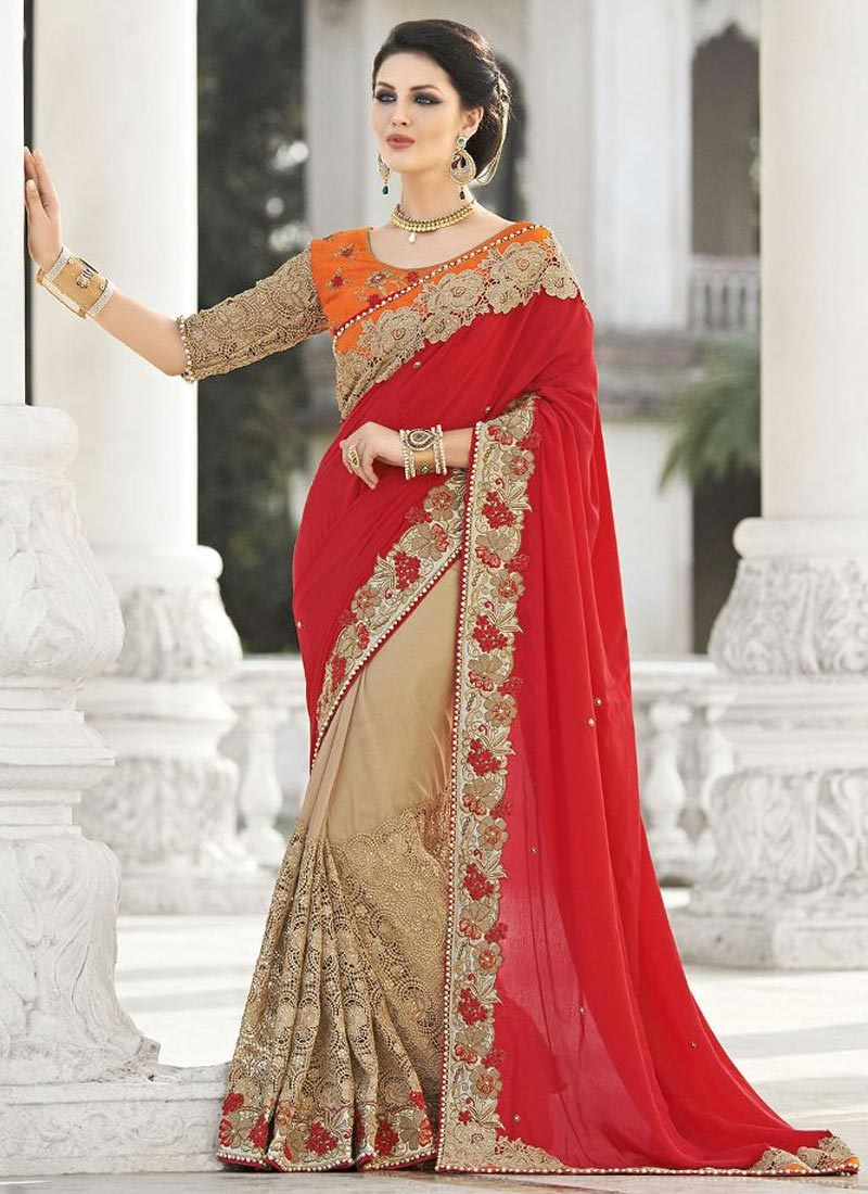 Desirable Patch Border Work Half N Half Wedding Saree