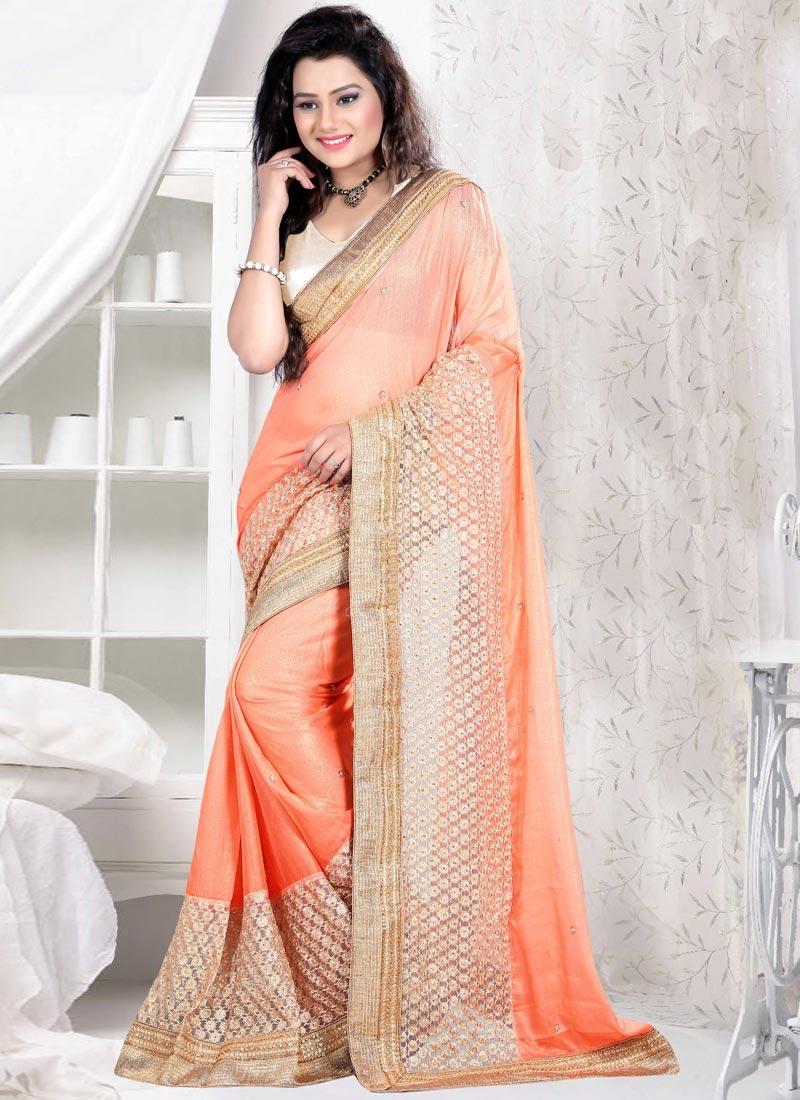 Desirable Peach Color Chiffon Satin Designer Saree