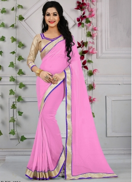 Desirable Pink Color Faux Georgette Casual Saree