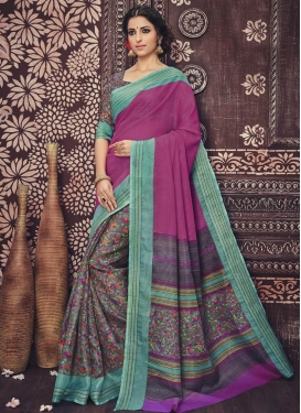 Desirable Print Work Art Silk Fuchsia and Grey Half N Half Trendy Saree