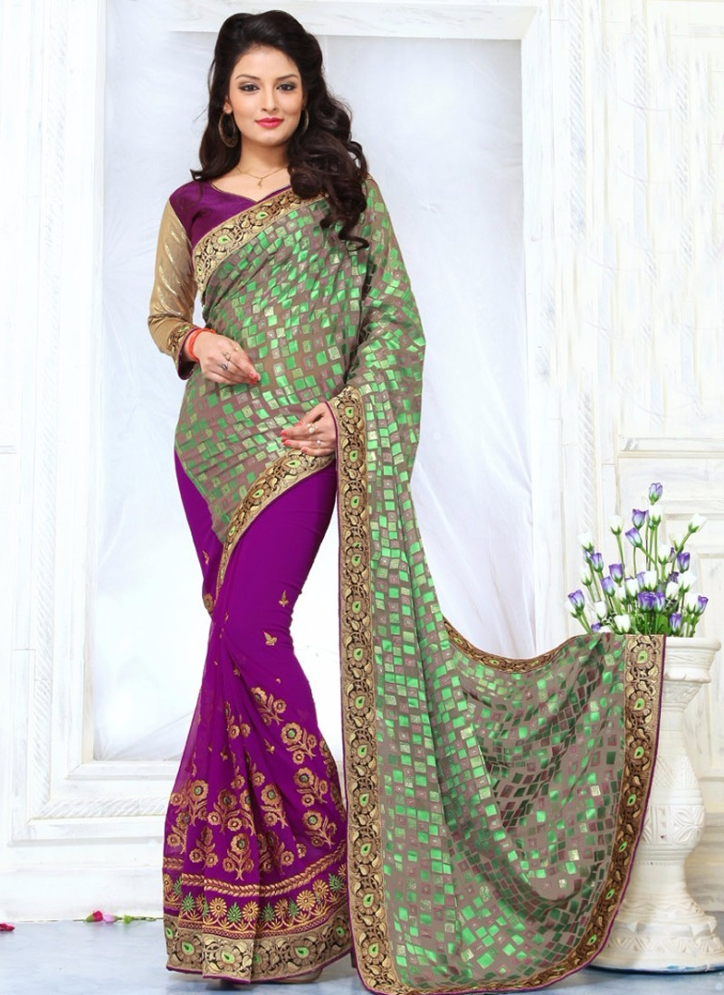 Desirable Purple And Grey Color Half N Half Party Wear Saree