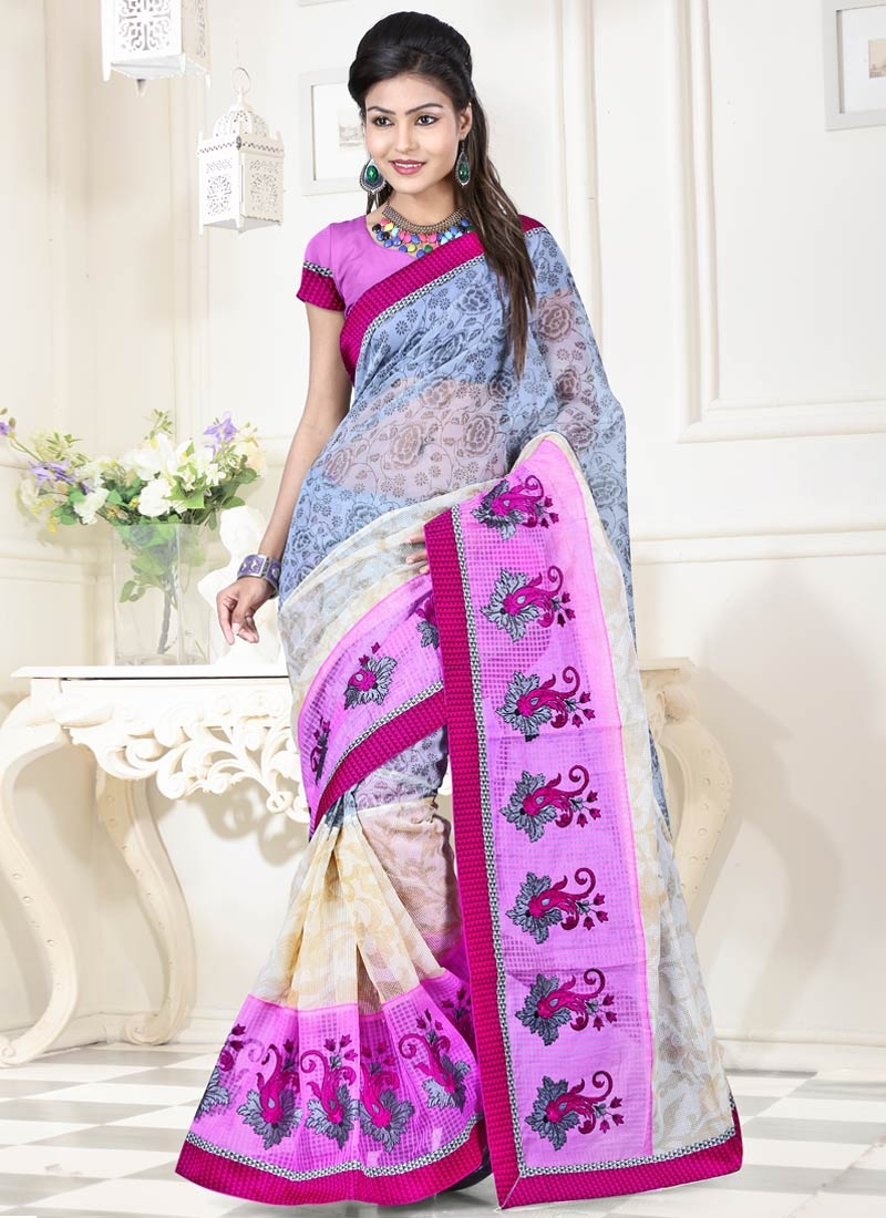 Desirable Resham And Booti Work Party Wear Saree