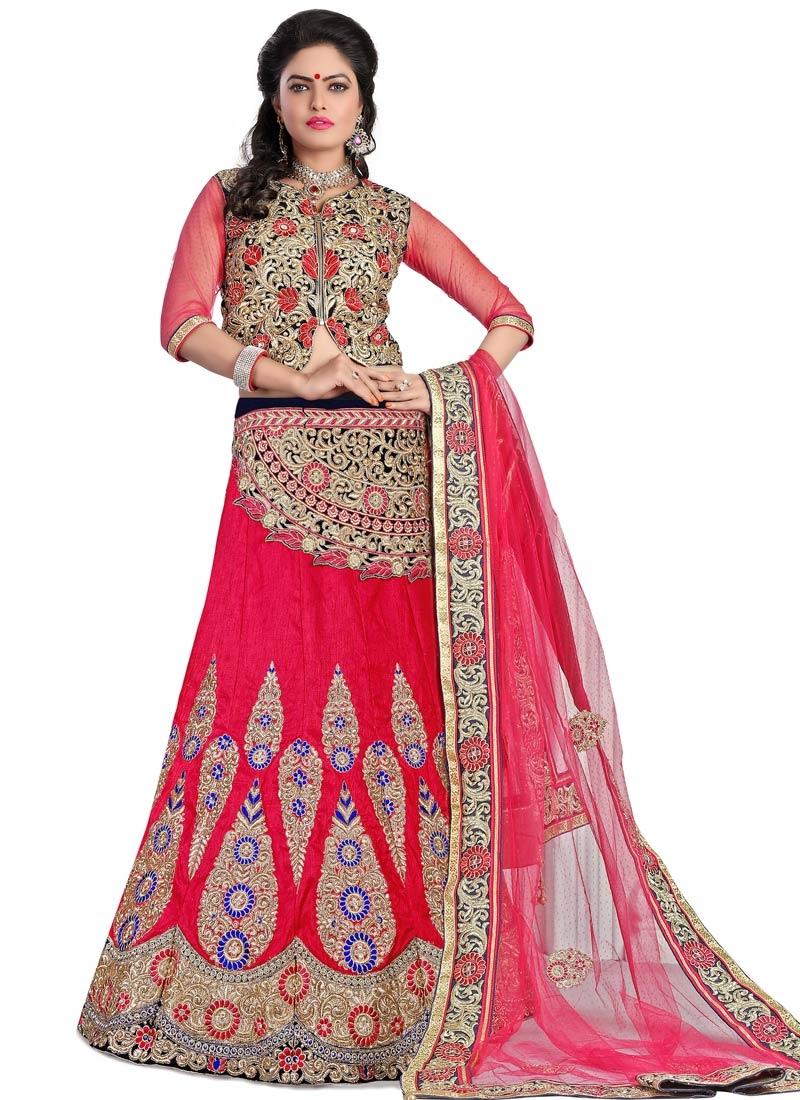 Desirable Rose Pink Color Bridal Lehenga Choli