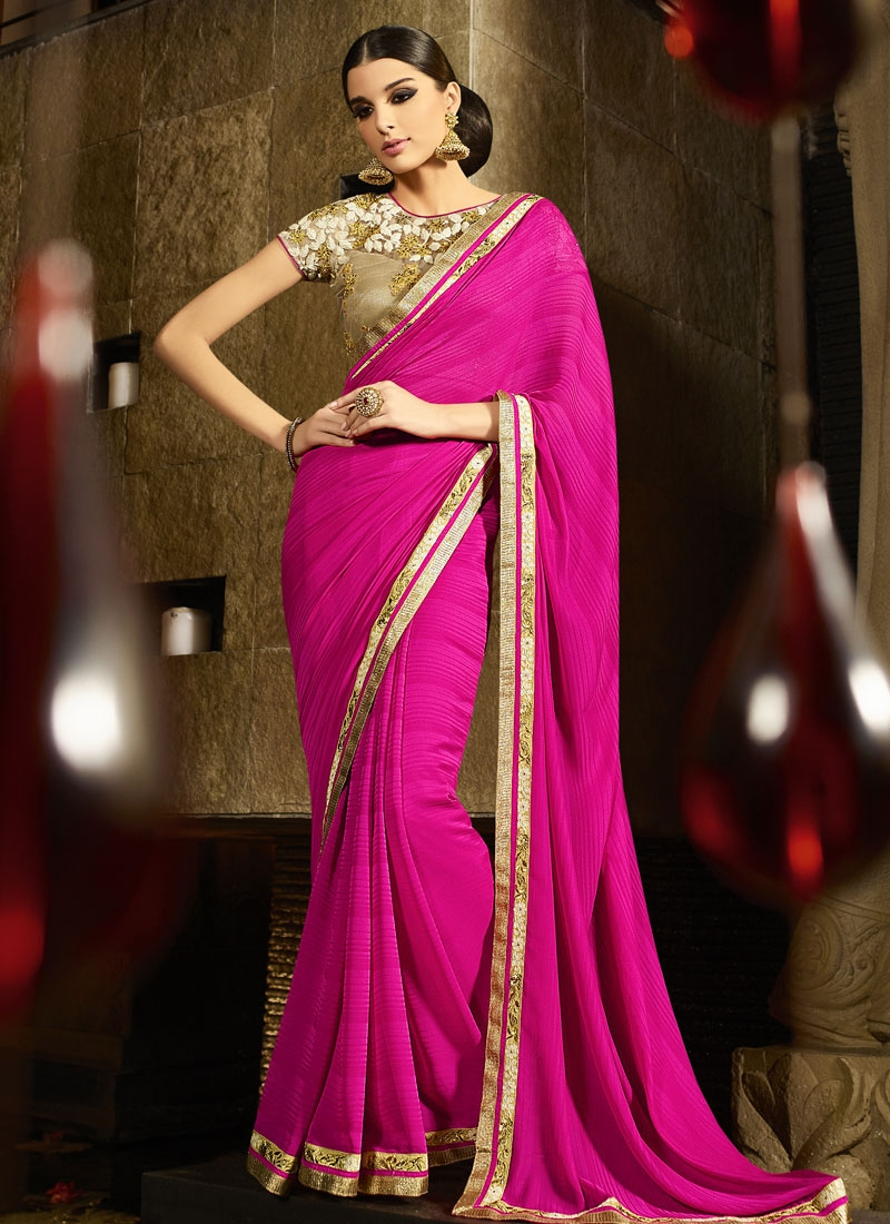 Desirable Rose Pink Color Jacquard Party Wear Saree