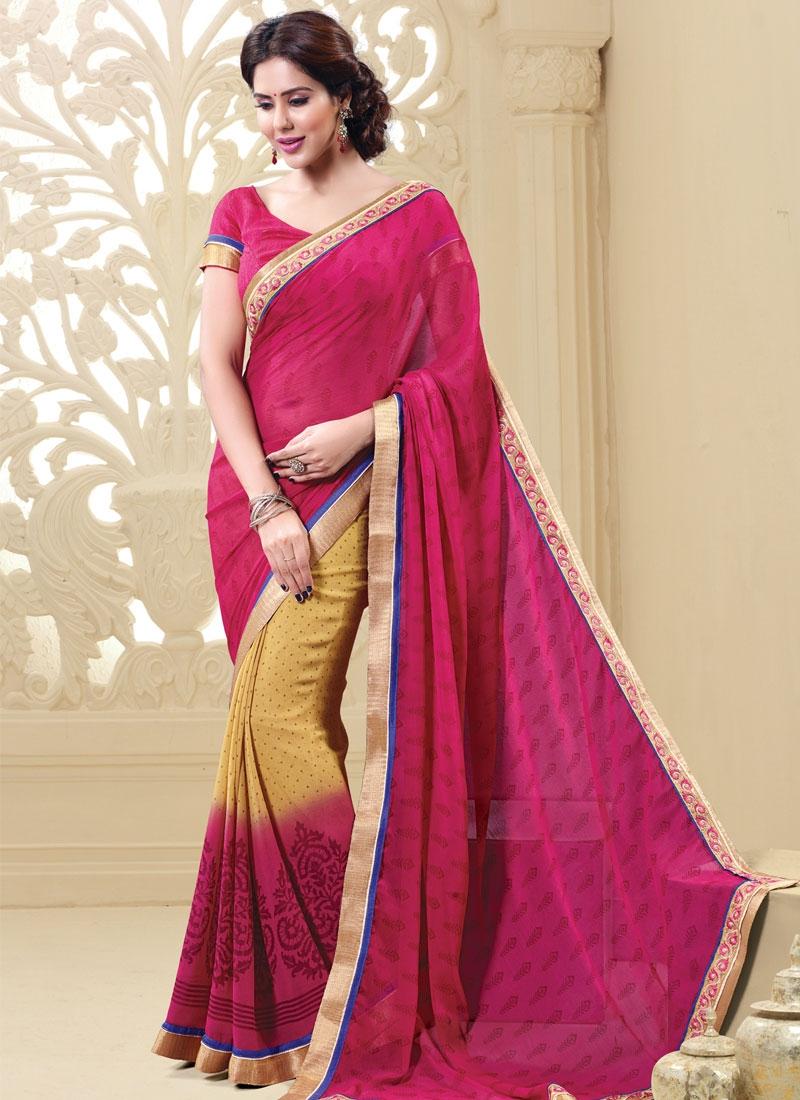 Desirable Rose Pink Color Printed Half N Half Casual Saree