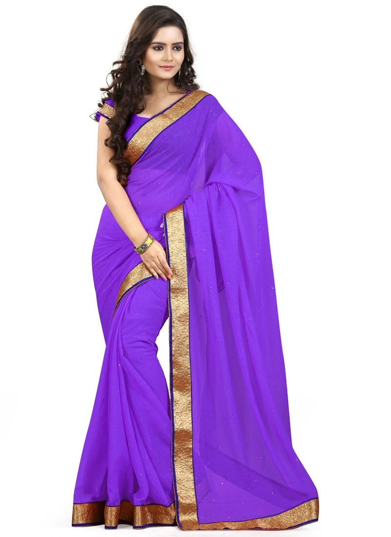 Desirable Stone And Lace Work Casual Saree