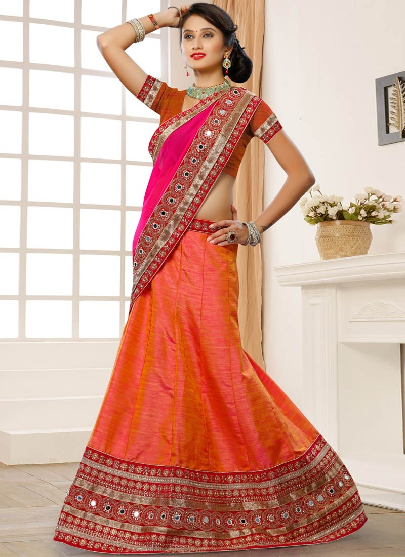 Desirable Stone Work Coral Color Wedding Lehenga Choli