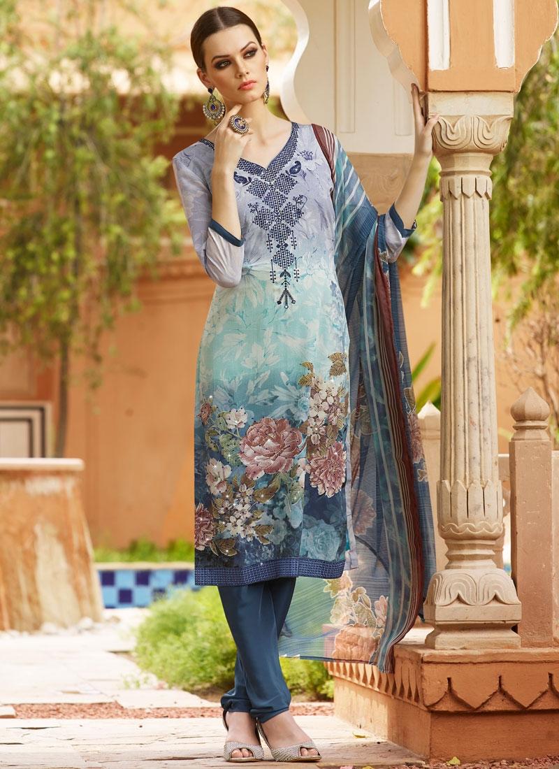 Desirable Stone Work Crepe Silk Churidar Salwar Suit