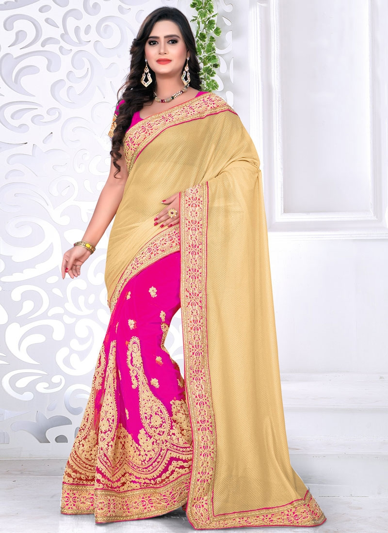 Desirable Stone Work Net Half N Half Designer Saree