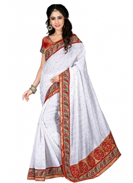 Desirable Stone Work White Color Party Wear Saree