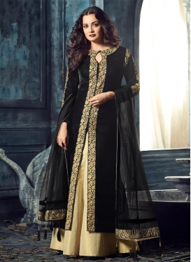 Dia Mirza Black and Cream Embroidered Work Designer Kameez Style Lehenga