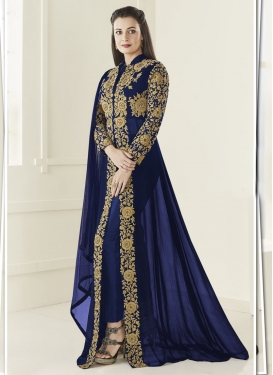 Dia Mirza Faux Georgette Embroidered Work Pant Style Classic Suit