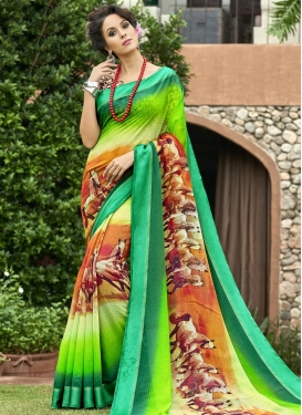 Digital Print Work Aloe Veera Green and Green Classic Saree