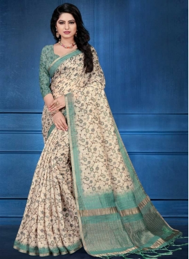 Digital Print Work Aqua Blue and Cream Designer Contemporary Saree