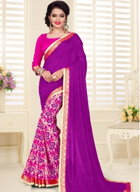 Digital Print Work Art Silk Designer Half N Half Saree For Ceremonial