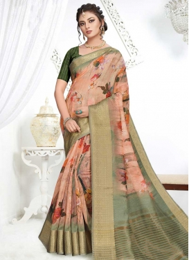 Digital Print Work Art Silk Designer Traditional Saree For Ceremonial