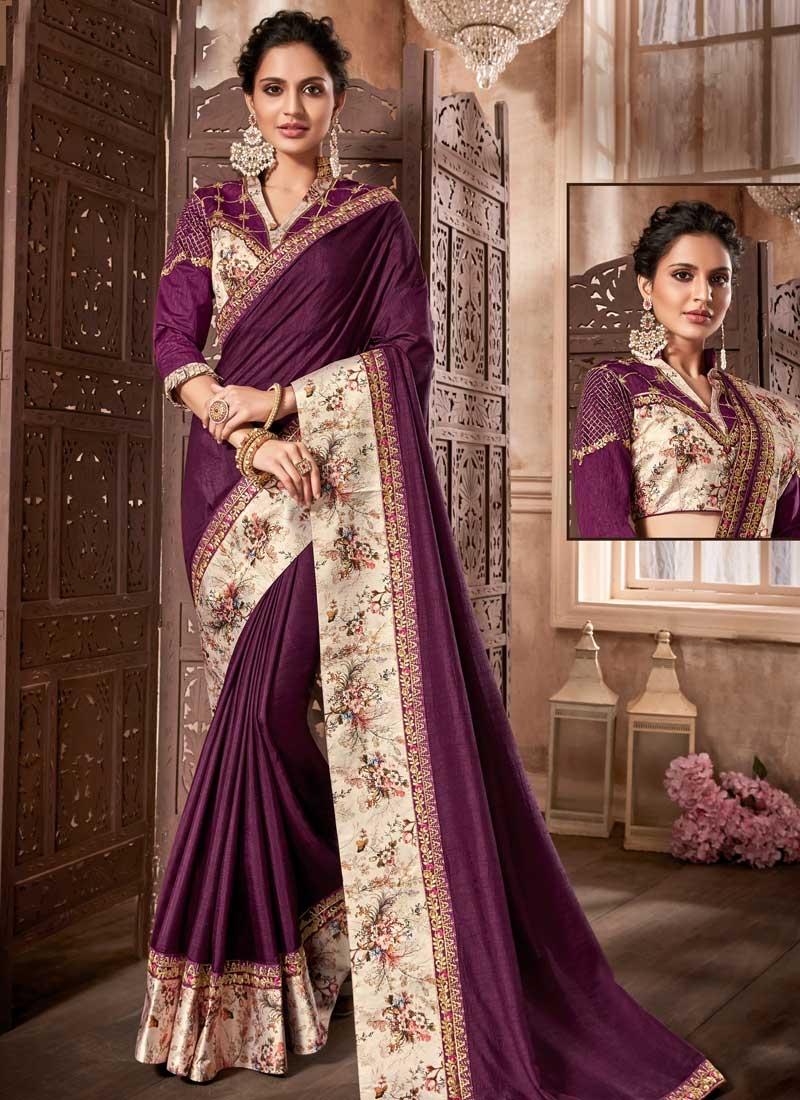 Digital Print Work Art Silk Traditional Saree