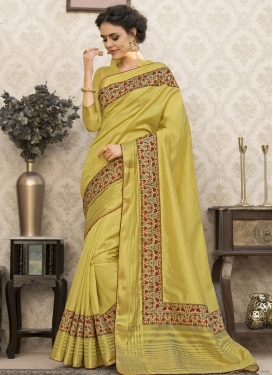 Digital Print Work Art Silk Traditional Saree For Ceremonial
