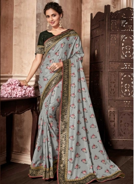 Digital Print Work Art Silk Trendy Classic Saree