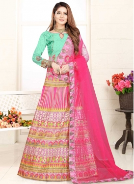 Digital Print Work Art Silk Trendy Lehenga