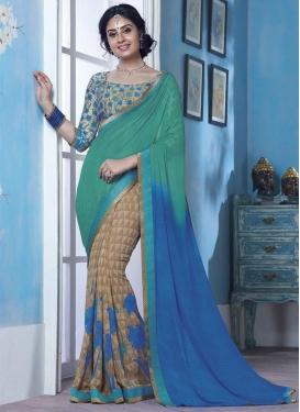 Digital Print Work Beige and Blue Half N Half Trendy Saree