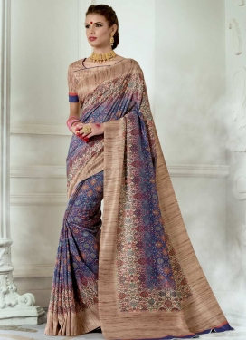 Digital Print Work Beige and Blue Trendy Classic Saree