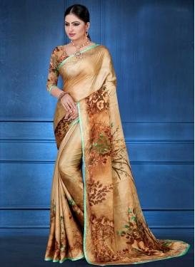 Digital Print Work Beige and Brown Traditional Saree