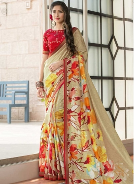 Digital Print Work Beige and Red Trendy Classic Saree
