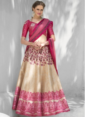 Digital Print Work Beige and Rose Pink A Line Lehenga Choli