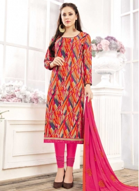 Digital Print Work Beige and Rose Pink Cotton Trendy Churidar Salwar Suit